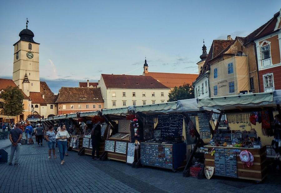 Sibiu Hermannstadt - Markt auf dem Kleinen Ring