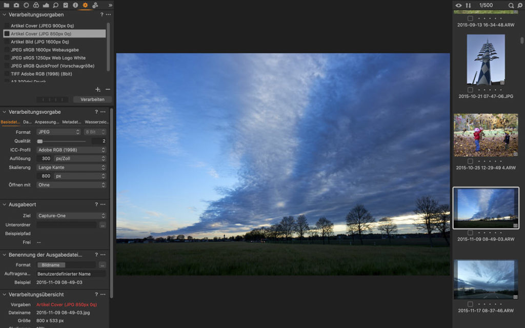 Capture One: Register Ausgabe (Bildbearbeitung)